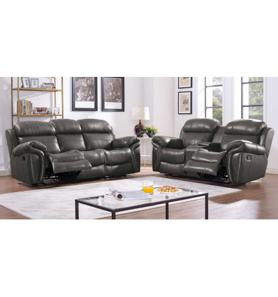 SICILY LEATHER RECLINING LIVING ROOM SET