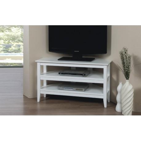 Quadra White Corner Media Stand