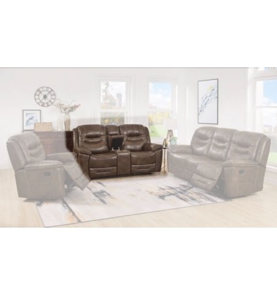 Cyrus Leather Power Reclining Loveseat
